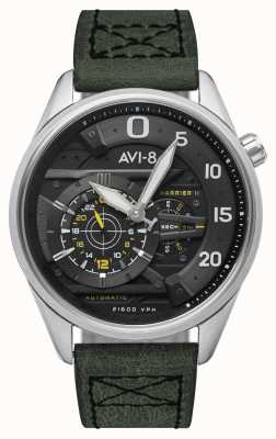 AVI-8 HAWKER HARRIER II - Ace Of Spades | Automatic | Green Leather Strap AV-4070-01