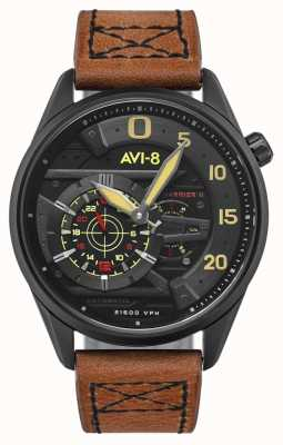 AVI-8 HAWKER HARRIER II - Ace Of Spades | Automatic | Brown Leather Strap AV-4070-04