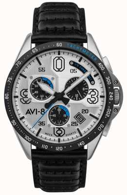AVI-8 P-51 MUSTANG | Chronograph | Silver Dial | Black Leather Strap AV-4077-01