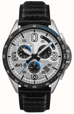 AVI-8 P-51 MUSTANG | Chronograph | Silver Dial | Black Leather Strap AV-4077-01