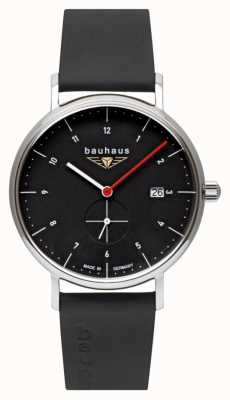 Bauhaus Men's Black Italian Leather Strap | Black Dial 2130-2