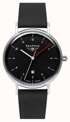 Bauhaus Men's Black Italian Leather Strap | Black Dial 2140-2