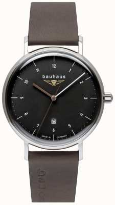Bauhaus Men's Grey Italian Leather Strap   Black Dial 2142-2