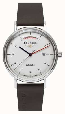Bauhaus Men's Brown Italian Leather Strap   White Dial   Automatic   Day/Date 2162-1