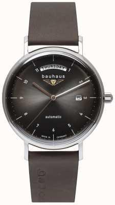 Bauhaus Men's Black Italian Leather Strap   Black Dial   Automatic   Day/Date 2162-2