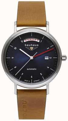 Bauhaus Men's Brown Italian Leather Strap | Blue Dial | Automatic | Day/Date 2162-3