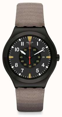 Swatch Gardya | Brown Silicone Strap | Black Dial YWB406