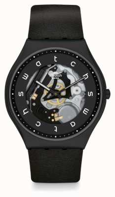 Swatch WHITE SIDE | Black Leather Strap | Black Skeleton Dial SS07B101