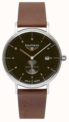 Bauhaus Men's Brown Italian Leather Strap   Black Dial 2132-2