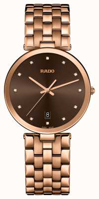 RADO Florence Diamonds Quartz Rose Gold PVD Plated Brown Dial R48893743
