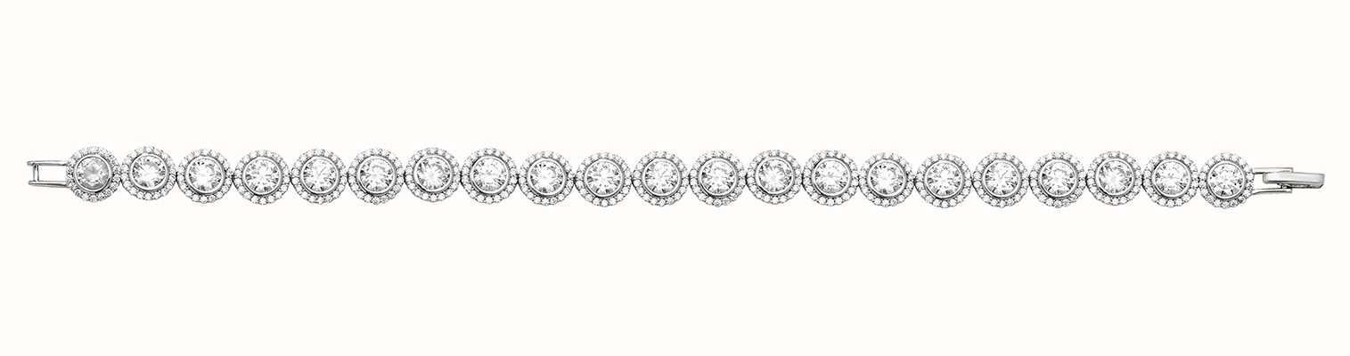 Treasure House Silver Ladies' Halo Style CZ Bracelet G2672