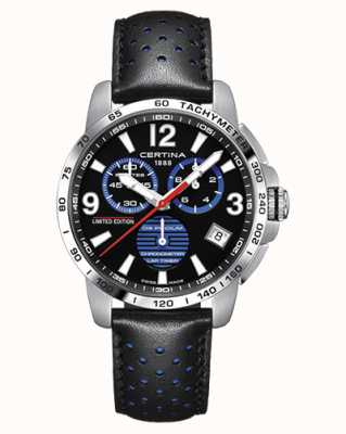 Certina | DS Podium | Lap Timer | Black Leather Strap | Black Dial | C0344531605720