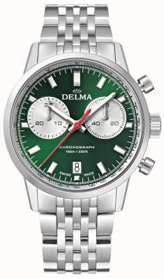 Delma Continental Chronograph | Stainless Steel Bracelet | Green Dial 41701.704.6.141