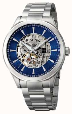 Festina Men's Automatic Skeleton | Steel Bracelet | Blue Dial F20536/3