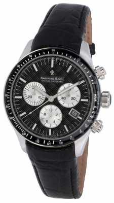 Dreyfuss Mens Black Dial Chronograph Leather Strap Watch DGS00032/04