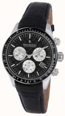 Dreyfuss Mens Black Dial Chronograph Leather Strap Watch DGS00032/04