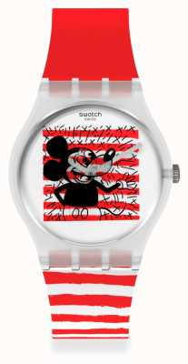 Swatch Keith Haring | Mouse Mariniere | Red White Striped Strap GZ352