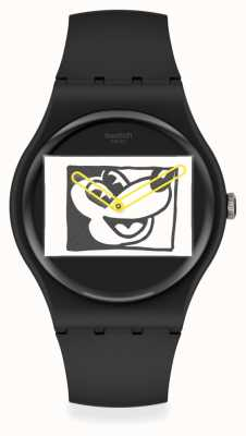 Swatch Keith Haring | Mickey Blanc Sur Noir | Black Silicone Strap SUOZ337