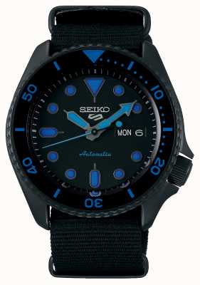 Seiko 5 Sports | Men's | Black Nylon Strap | Black/Blue Dial SRPD81K1