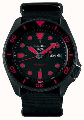 Seiko 5 Sports | Men's | Black Nylon Strap | Black/Red Dial SRPD83K1