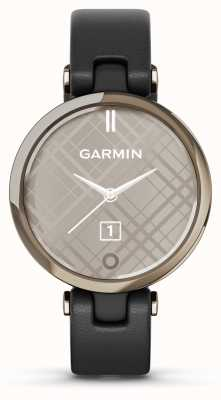 Garmin Lily Classic Edition | Cream Gold Bezel | Black Case | Italian Leather Strap 010-02384-B1