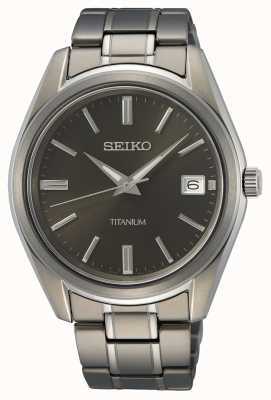 Seiko Men's Quartz Titanium Black Dial SUR375P1