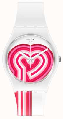 Swatch BEATPINK | Valentines Day | White Silicone Strap | Pink/White Heart Dial GW214