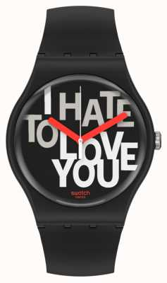Swatch HATE 2 LOVE | Valentines Day | Black Silicone Strap | Black Dial SUOB185