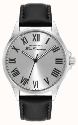 Ben Sherman Men's Black Pu Leather Strap Silver Dial BS050B