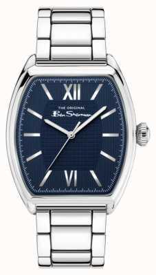 Ben Sherman Men's Silver Stainless Steel Bracelet Navy Dial BS047USM