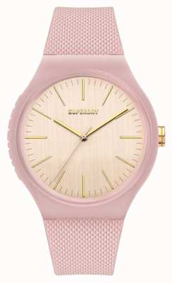 Superdry Pale Pink Silicone Soft Touch Silicone Strap | Off White Dial SYL344P