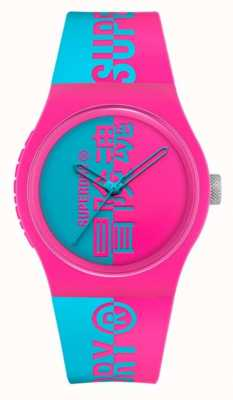 Superdry Pink Aqua Printed Silicone Soft Touch Strap |  Aqua Print Dial SYG346AUP