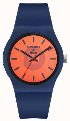 Superdry Navy Soft Touch Silicone Strap | Orange Semi Transparent Dial SYG347UO