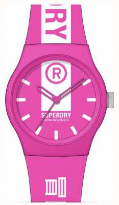 Superdry Pink & White Printed Soft Touch Silicone Strap | White Print Dial SYL348P