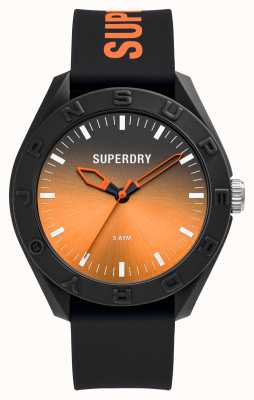 Superdry Black Soft Touch Silicone Orange Graduated Sunray Dial SYG321BO