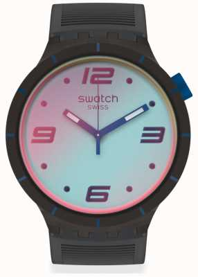 Swatch FUTURISTIC GREY | Big Bold | Grey Silicone Strap | Two-Tone Dial SO27B121