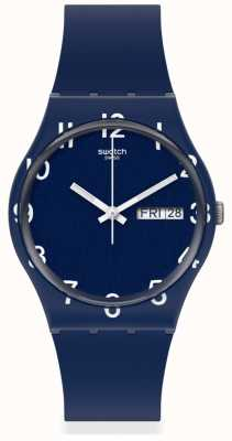 Swatch OVER BLUE | Blue Silicone Strap | Blue Dial GN726