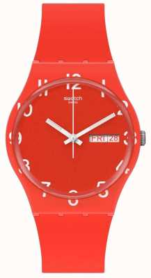 Swatch OVER RED | Red Silicone Strap | Red Dial GR713