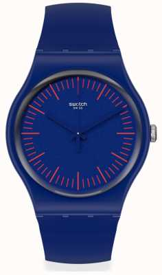 Swatch BLUENRED | Blue & Red Silicone Strap | Blue Dial | Red Markers SUON146
