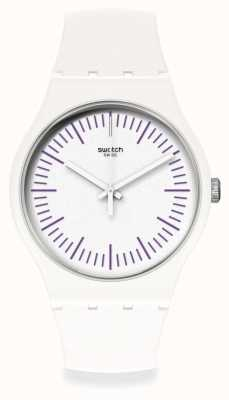 Swatch WHITENPURPLE | White & Purple Silicone Strap | White Dial | Purple Markers SUOW173