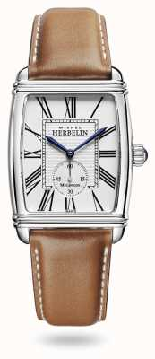 Michel Herbelin Art Déco | Automatic | Brown Leather Strap Silver Dial 1938/08GO