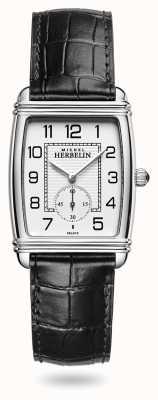 Michel Herbelin Women's | Art Déco | Silver Dial | Black Leather Strap 10638/22