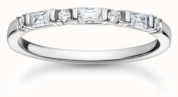 Thomas Sabo Sterling Silver | White Stones Ring | Size 56 (UK O 1/2) TR2348-051-14-56