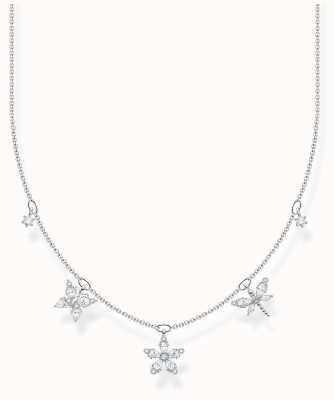 Thomas Sabo Sterling Silver | White Stones Butterfly & Flowers Necklace KE2100-051-14-L45V