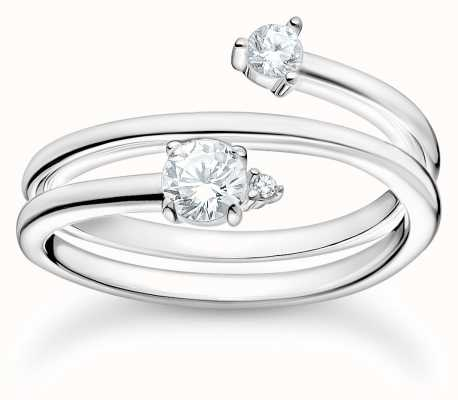 Thomas Sabo Sterling Silver Arrow Ring | White Stones | Size 56 (UK O 1/2) TR2357-051-14-56