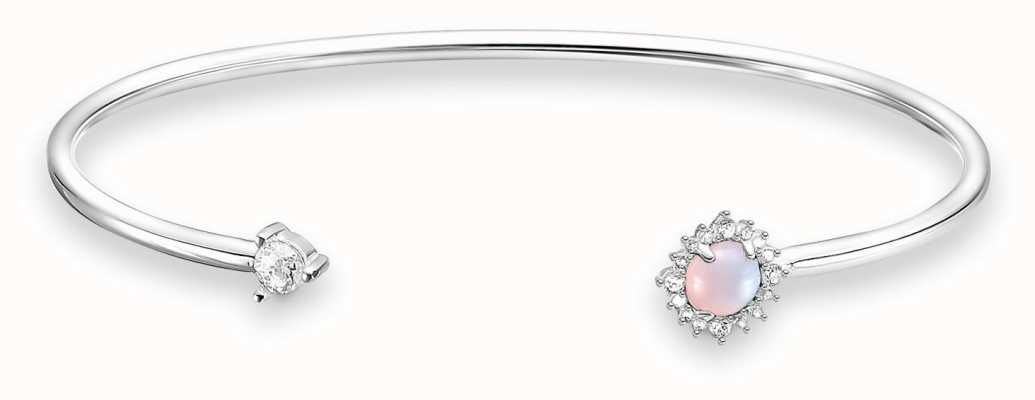 Thomas Sabo Sterling Silver Arrow Open Bangle | Pink Opal & White Stones AR107-166-7-L15,5