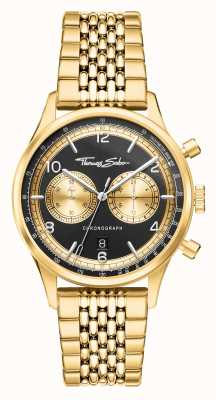 Thomas Sabo | Rebel At Heart | Men's | Gold Tone Bracelet | Black Dial | WA0376-264-203-40