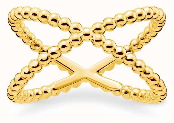 Thomas Sabo Gold Plated 'Dots' Ring | Size 54 (UK N) TR2152-413-39-54