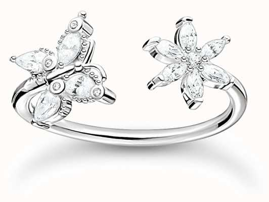 Thomas Sabo Sterling Silver Butterfly Open Ring | Size 54 (UK N) TR2355-051-14-54