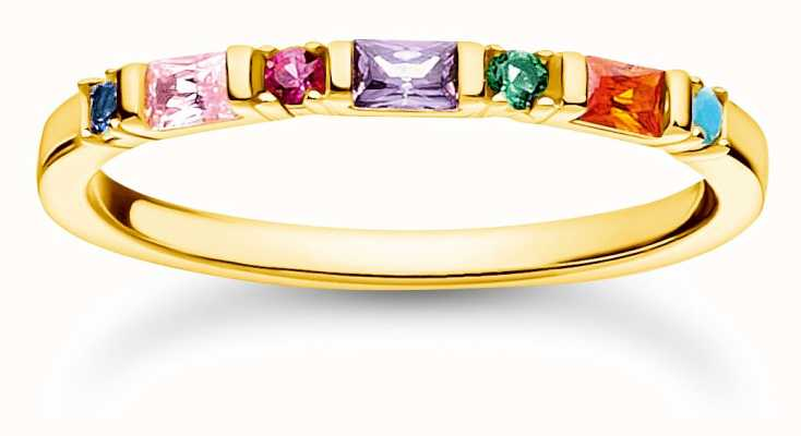 Thomas Sabo Gold Plated Colourful Stones Ring | Size 54 (UK N) TR2348-488-7-54